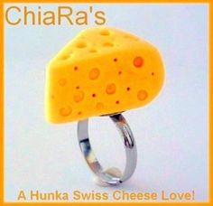 POLYMER CLAY CHEESEHEAD SWISS CHEESE RING by charmthis for $4.99