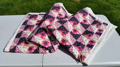 Black and Pink Flower Quilt by TieQuiltingMommas on Etsy, $56.00