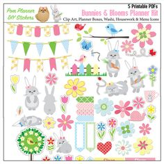 Sale Printable Bunnies Planner Stickers Kit di DigiScrapDelights