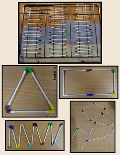 "Cotton buds dipped in paint - matching, pattern & shape play from Rachel ("",)"