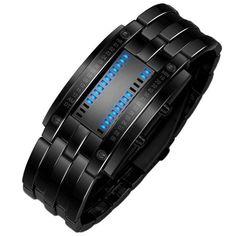 Unique Binary Watch Men's Black or Stainless Steel Digital LED Bracelet