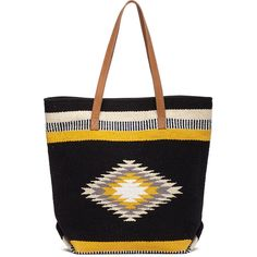Sole Society Lillia Woven Fabric Tote ($55) ❤ liked on Polyvore featuring bags, handbags, tote bags, black multi, leather tote handbags, genuine leather tote, leather tote purse, boho purses and tote handbags