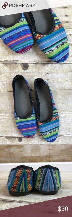 Womens Guatemalan Aztec Hippie Boho Ballet Flats 9 Awesome pair of women's ballet flats  Size 9  Please note that the inner soles are loose and there is some soil on bottom soles from use. Add a spot of glue to inner soles if that's a concern ;)  Beautiful woven, blue, green and purple striped Guatemalan/ Aztec style print perfect for festivals and Hippie Boho goddesses Shoes Flats & Loafers