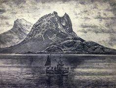 Karl Erik Harr Lithography Strandåtind Norway, Sculptures, Illustration Art, Contemporary, Mountains, Nature, Outdoor, Painting, Artists
