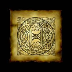 """""""Celtic Letter O"""" by Kristen Fox: An original, hand-drawn letter from the full alphabet done in Celtic style, with intricate knotwork, spirals, and leaves, on a faux parchment background on a black field. A wonderful monogram print..."""