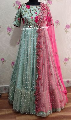 indian gowns dresses Pastal hues by viviktha # designer long frocks # cutwork dupatta # Indian dresses # long gown designs # wedding frocks # bridal wear # ethnic wear Indian Long Dress, Party Wear Indian Dresses, Indian Wedding Gowns, Designer Party Wear Dresses, Indian Bridal Outfits, Indian Gowns Dresses, Indian Designer Outfits, Indian Long Frocks, Long Gown Dress