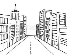 Cartoon line city Royalty Free Stock Vector Art Illustration
