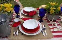 Beautiful Red, White and Blue Tablescape with a Beach twist by Pat at Back Porch Musings
