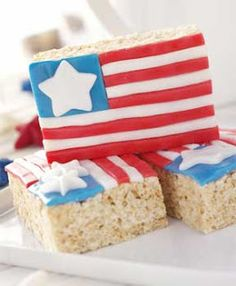 4th of July Desserts   Crispy Rice Flag Treats