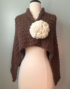 Wild West Shawl and Giant Blossom Pin Crochet Pattern, Big Flower Crochet Pattern