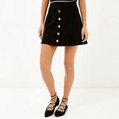 Black button up A-line mini skirt