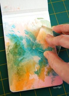 """Here's a simple way to create a """"painted background"""" without having to get your paintbrush out......all you need is your journal, your favorite water-soluble markers (i use tombow brush pens), an acrylic block, and a mini mister."""