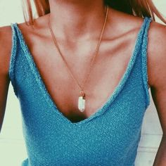 gold quartz necklace ~ blue tank top