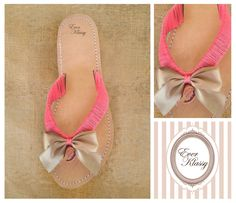 Y01 - Bow Gold  Leather Handmade Sandal