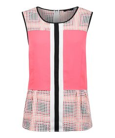 Look at this Coral Color Block Sleeveless Top on #zulily today!