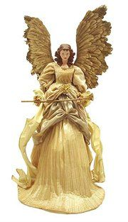 Antique Chic Gold Angel Figure With Gold Feather Wings