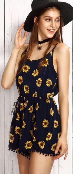 Navy Sunflower Print Pom Pom Trim Cami Romper