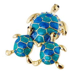 Family Turtle Brooch Pin - 6 colors