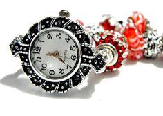 european bead watch bracelet, red, fits