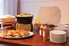 """Southern Comfort"" food station with jumbo lump crab cakes, truffle mac n cheese, skillet cornbread, and pulled pork sliders 