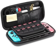iAmer 11 in 1 Starter Kits for Nintendo Switch, Carrying Case+Transparent Screen Protector for Nintendo Switch +Silicone Joy-Con Gel Guards+Thumb Grips Caps+ Game Card Case+Screen Wipe Screen Wipes, Caps Game, Switch Covers, Starter Kit, Starters, Screen Protector, Card Case, Nintendo Switch, Carry On