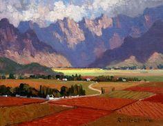 Landscape Art, Landscape Paintings, Acrylic Paintings, Oil Paintings, South Africa Art, African Paintings, South African Artists, Red Art, Abstract Backgrounds