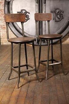 Item Pair of Vintage Industrial Wood and Metal Factory Stools. Industrial Bar Stools, Vintage Industrial Furniture, Rustic Industrial, Rustic Furniture, Kitchen Stools, Antique Chairs, Wood And Metal, Extra Seating, Farmhouse