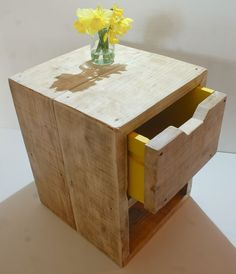 reclaimed scaffold board bedside table with yellow drawer by Tranquilo Living Diy Furniture Projects, Recycled Furniture, Pallet Furniture, Rustic Furniture, Furniture Making, Wood Projects, Bedroom Furniture, Outdoor Furniture, Steampunk Bedroom