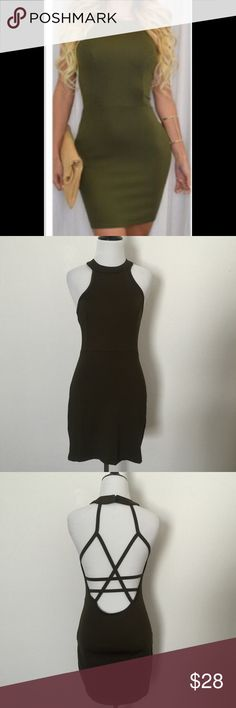 NWOT Sexy Bodycon Dress NWOT Sexy Party Bodycon Dress. Mini. Open Back. Olive Green. Dresses