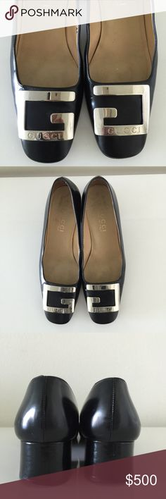 """Gucci vintage pumps Incredible vintage rare with huge G logo Gucci pumps in black shiny leather. These are a collectors item and a conversation piece, identifiable from afar, 100% authentic and adding a little extra height with a 2"""" block heel. Timeless elegance. Made in Italy. They are size 7 1/2 but double AA which means narrow. They look amazing on and have been worn a few times but in great condition. I am a size 7 and they fit me perfectly. They come with the Gucci dustbag. Gucci Shoes…"""