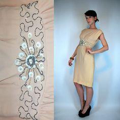 Vintage 50s Art Deco CREPE rayon Wiggle Sheath by BluegrassVoodoo, $88.00
