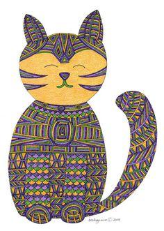 Cat Art Cards Zen Cat 5x7 Card by beckyzimm by beckyzimm on Etsy, $3.00