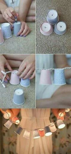 DIY Dorm Room Decor Ideas - Dixie Cup Garland - Cheap DIY Dorm Decor Projects for College Rooms - Cool Crafts, Wall Art, Easy Organization for Girls - Fun DYI Tutorials for Teens and College Students (Cheap Diy Crafts) Diy Crafts For Teens, Diy For Girls, Diy And Crafts, Girls Fun, Easy Crafts, Cute Diy Crafts For Your Room, Cute Diys For Teens, Cool Crafts, Crafts Cheap