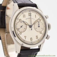 f84f70cee22 1950 s Vintage Abercrombie  amp  Fitch Co. 2-Register Chronograph Stainless  Steel Watch Tweed