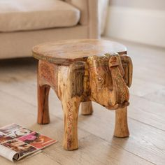 Mehindi Elephant Table hand carved from solid mango wood with beautiful hand-painted traditional decoration. One-of-a-kind piece, with no two exactly alike & is fairly traded from India. Charmed Characters, Elephant Table, Hand Carved, Hand Painted, Beautiful Hands, Mango, Carving, India, Traditional