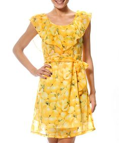 Take a look at this Smash: Yellow Peach Dress with Ruffle Collar by Smash on #zulily today!