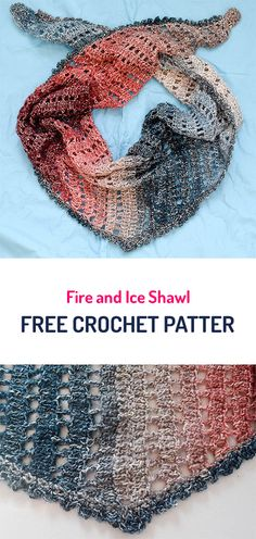 Fire and Ice Shawl Free Crochet Pattern #crochet #yarn #crafts #style #fasion