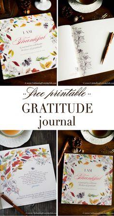 Free Gratitude Journal PDF, Free Printable Gratitude Journal, Thanksgiving Printable, Celebrating Everyday Life with Jennifer Carroll