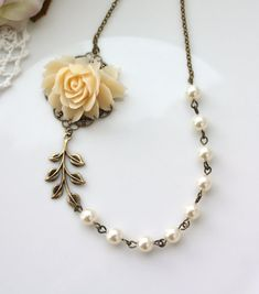An Ivory Large Rose Flower Ivory Pearls, Brass Leaf Necklace. Wedding Bridal. Vintage Inspired.  Bridesmaids Necklace Gifts. Maid of Honor.