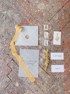 Wedding Stationery - Yellow Mimosa Flowers Inspired Wedding Shoot | fabmood.com #wedding #springwedding #yellowwedding #weddinginspiration