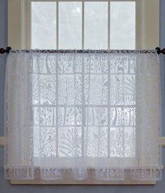 Vintage White Lace Net Cat Curtain 1 Wide Panel Cats