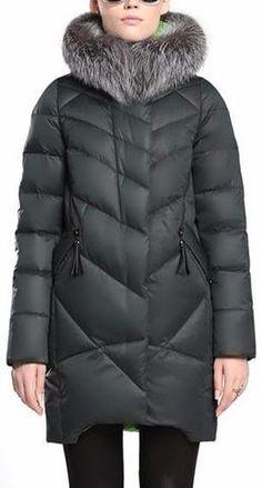 Silver Fox Fur Hooded Puffer Down Coat in Dark Green
