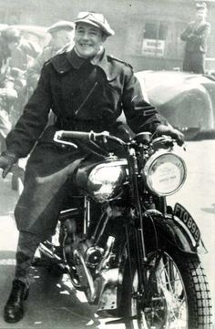 Brough Superior. George Brough on a Brough Superior motorcycle 1930's