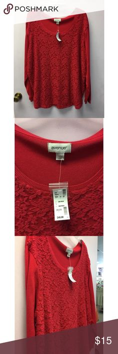 """NWT Avenue Red lace overlay top size 26/28 Measurements are sleeves 25"""", length 31"""", from underarm to underarm 28"""", shoulder to shoulder 21"""". Avenue Tops"""