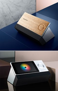 Bang & Olufsen BeoSound Moment - In addition to the touch-sensitive wooden control panel, this premium music streaming system also features a colorized Mood Wheel that selects songs based on how you're feeling. Mens Gadgets, High Tech Gadgets, Gadgets And Gizmos, Internet Trends, Modern Tech, Bang And Olufsen, Free Mind, Tech Toys, Cool Tech