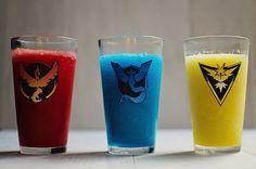 The MarGOrita - a Pokemon GO drink with three layers of margarita representing team valor, team mystic, and team instinct. Recipe at http://putitinurmouth.com