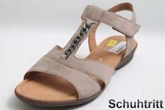 Hersteller: Gabor  Modell: Sandaletten  Obermaterial: Nubuk Leder  Farbe: Grau  Innensohle: Hightech Komfort  Innenmaterial: Textil  Laufsohle: Gummi  Verschluss: 1 Punkt Klettverschluss  Extras-1: Detaillösungen  Extras-2:...