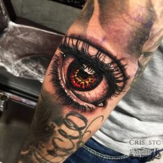Realistic Eye Tattoo By Cris! #realistic #eye #black #grey #color #filler #realism