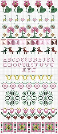 Cross-stitch Pretty in Pink borders... no color chart available, just use the pattern chart as your color guide.. or choose your own colors...