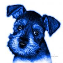 Blue Salt and Pepper Schnauzer Puppy pop art by artist James Ahn. Schnauzers are a loyal breed. BBlue as a rat catcher, yard dog, and guard dog. They have high energy and are intelligent... They make great companions... Schnauzer 7206   © Rateitart.com // All Rights Reserved.   #Blue #ColorBlue #BlueArt #BluePopArt #Schnauzer #SchnauzerArt #MinatureSchnauzer #DogArt #PopArt #DogArtPrints #ILoveSchnauzer #SchnauzerArtPrint